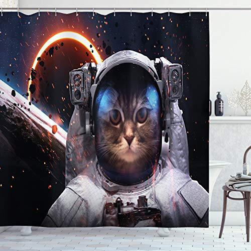 ABAKUHAUS Raum-Katze Duschvorhang, Cluster Weltraum, Bakterie Schimmel Resistent inkl. 12 Haken Waschbar Stielvoller Digitaldruck, 175 x 200 cm, Dunkelblau Weiß & Schwarz