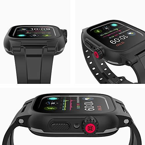 eNICER 42 mm/44 mm, IP68 wasserdichtes Gehäuse für Apple Watch, 360 Grad stoßfest, iWatch eingebauter Displayschutz, PC-Gehäuse, PET-Folie, Rundumschutz mit Silikon-Uhrenarmband (44 mm)