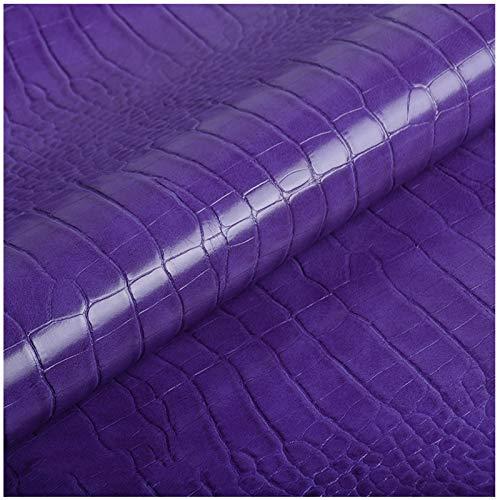 LILAMP 1.0mm De Espesor Tela De Imitación De Cuero,Púrpura Artesanía En Cuero,Ideal para Trabajos De Artesanía,Textiles,Decoración,Cuero Brillante Tela con Estampado De Cocodrilo(Size:4M)