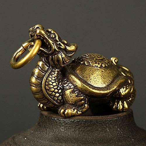 YXYSHX Llavero de dragón y Tortuga de Animal mítico de Bronce Chino, Anillo con Colgante de Bronce Vintage, Llavero de Dios Bestia de la Suerte, Colgante