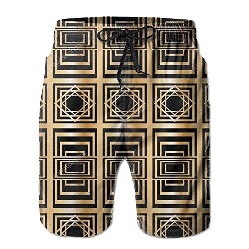Pantalones Cortos de Carga de Humor de geometría Abstracta Retro para Hombre Pantalones Cortos de Playa de Secado rápido