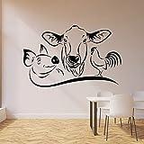 Etiqueta de la pared del gallo del cerdo de la vaca Etiqueta engomada del vinilo de la decoración del restaurante de la cocina de los animales de granja