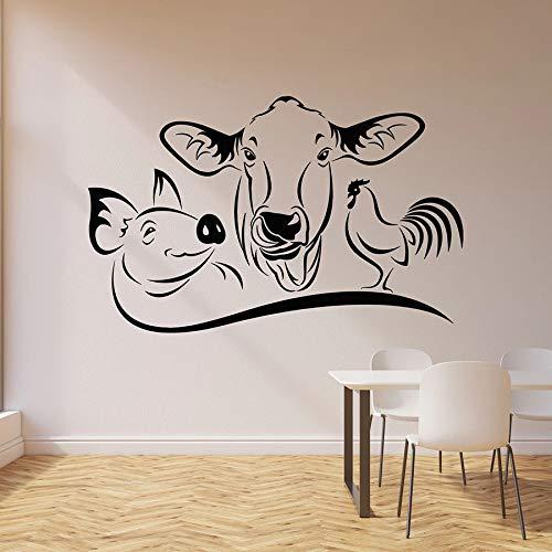 HGFDHG Vaca Cerdo Gallo calcomanía de Pared Animal de Granja Cocina Restaurante Comedor decoración Vinilo Ventana Pegatina Mural Arte