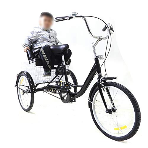 Bicicleta de 3 ruedas de 20 pulgadas, triciclo para adultos con cesta de la compra y asiento plegable para niños, para personas mayores, para ir de compras, de carga, color negro