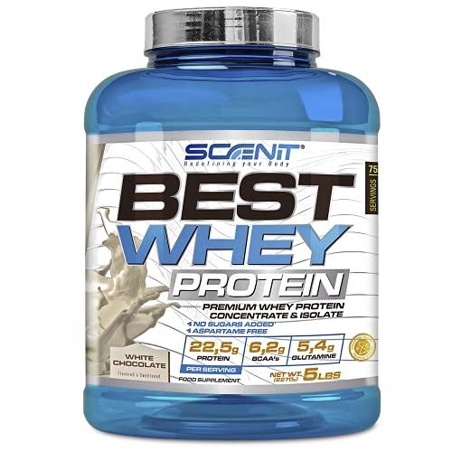 Best Whey Protein - 100% proteína de suero de leche, proteína en polvo con aminoácidos para el desarrollo muscular - 2,27 kg (Chocolate blanco)