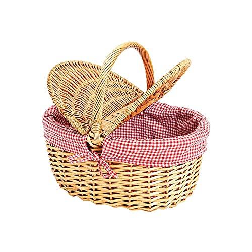Natur Weidenkorb mit Deckel Und Henkel (Korb geflochten Oval, 40cm x 30cm x 18 cm) - Weide Einkaufskorb geflochten & Picknickkorb Leer mit Innenfutter - Rot Weiß