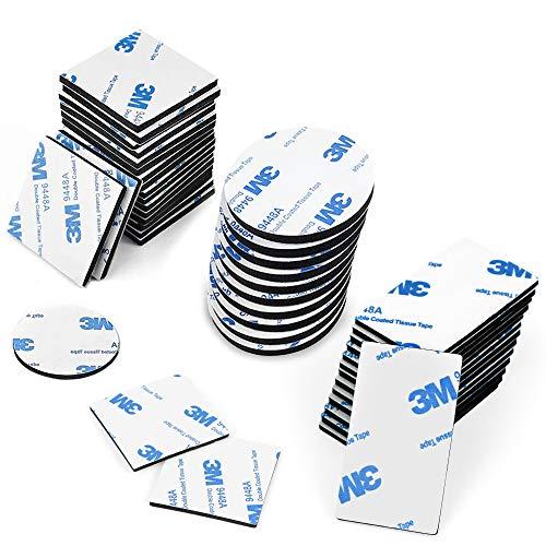 O-Kinee Klebepads Doppelseitig, 130 Stück Doppelseitige Schaumstoff-Pads, Doppelseitiges Klebeband Extra Stark, Quadratisch, Rechteck und Rund