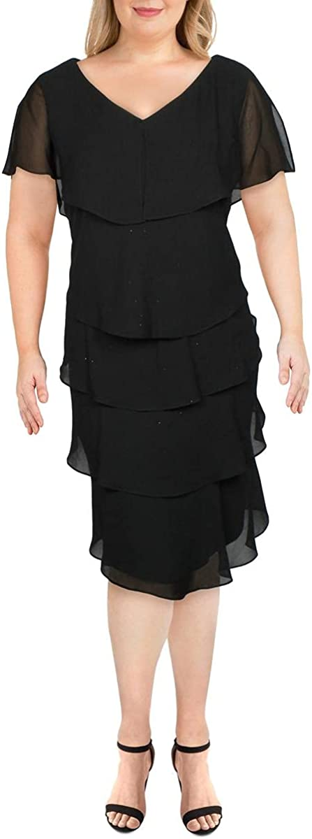 S.L. Fashions Women's Plus Size Short Sleeve Pebble Tier Dress