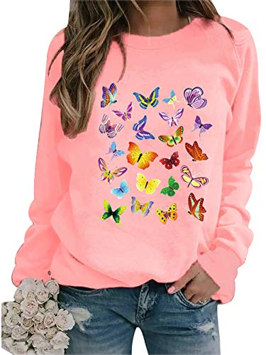 Lässige Sweatshirts für Damen, mit Schmetterlings-Aufdruck, Rundhalsausschnitt, lange Ärmel, lose Sweatshirt, Pullover Tops