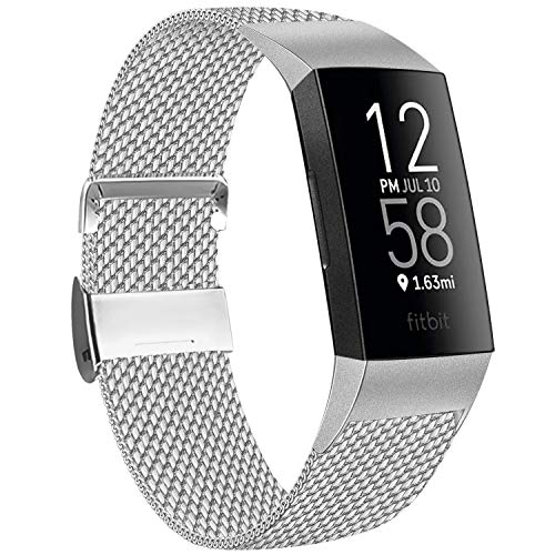 AK Kompatibel mit Fitbit Charge 4 Armband Fitbit Charge 3 Armband, Metall Verstellbare Edelstahl Ersatz Armband für Fitbit Charge 3 und Fitbit Charge 4 (02 Silber, Large)