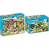 Playmobil Country Payset, Granja De Caballos, Multicolor (6926) + Country Transporte De Caballo con Holstein Y Jinete En Traje De Adiestramiento, A Partir De 5 Años (6928)