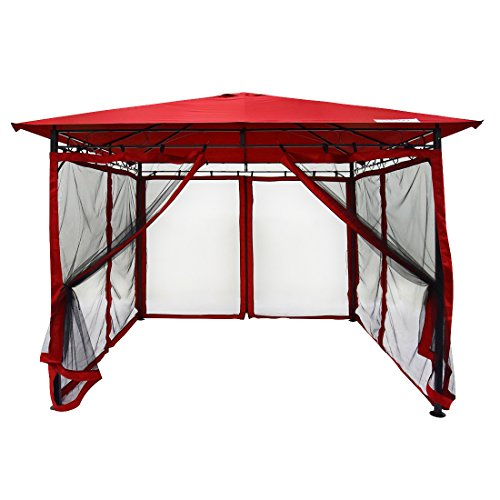 Quictent 10x10 Gazebo with Mosquito Netting Garden Gazebo Metal Soft Top Gazebo Canopy Fully Enclosed for Patio, Deck and Backyard 100% Waterproof (Red)