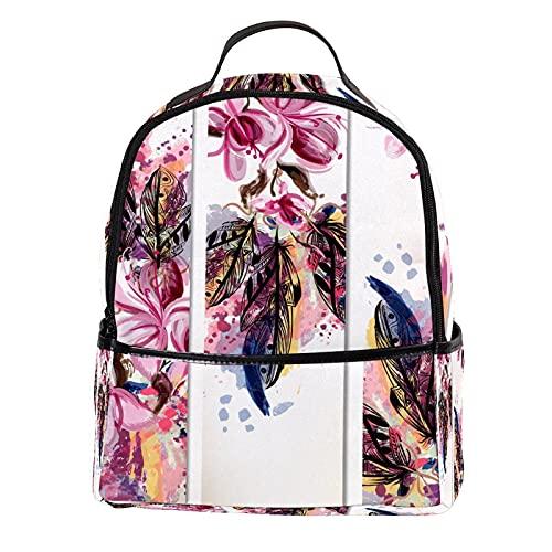 AITAI Mochila de piel sintética para acuarela, diseño de magnolia, pluma, para escuela al aire libre, para la universidad