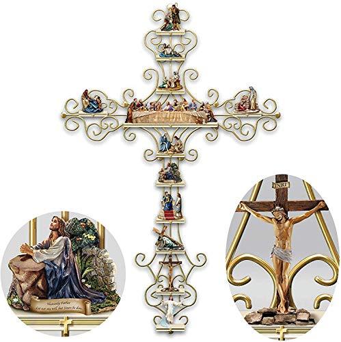 iScooter Adesivo de parede crucifixo The Life of Christ Collection Display Cross Sticker, decalque de parede religioso Bíblia acessórios para presente - 2030 cm