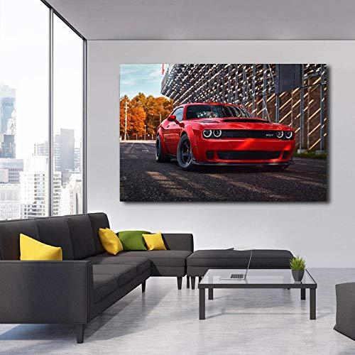 VVSUN Impresión HD Dodge Challenger SRT Demon Red Metallic Car Imagen Arte de la Pared Cartel de la Lona e Impresiones para la decoración de la Sala de Estar 60X90cm 24x36 Pulgadas Sin Marco