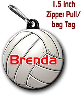 Two Volleyball zipper pull bag tags 1.5 inch charms personalized with name