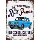 Cartel de chapa de Metal, placa de pared,coche francés Vintage, cartel de arte de Metal Renault, decoración Retro, cartel de pared, decoración de pared, café-20x30cm