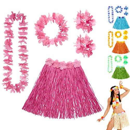 Amakando Bastrock Blumenkette Hawaii Hula Set rosa Hawaikette Baströckchen Limbo Party Outfit Südsee Kostüm Zubehör Strandparty Beachparty