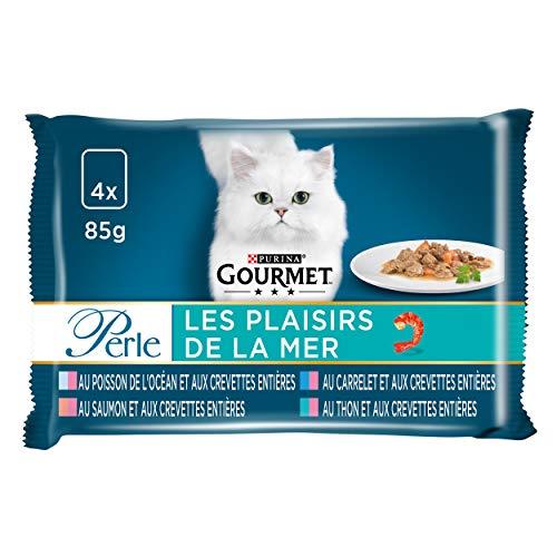 GOURMET - Les Plaisirs de la Mer : Carrelet, Thon, Poisson de l'Océan, Saumon, Garniture de Crevettes - 4x85g - Lot de 12