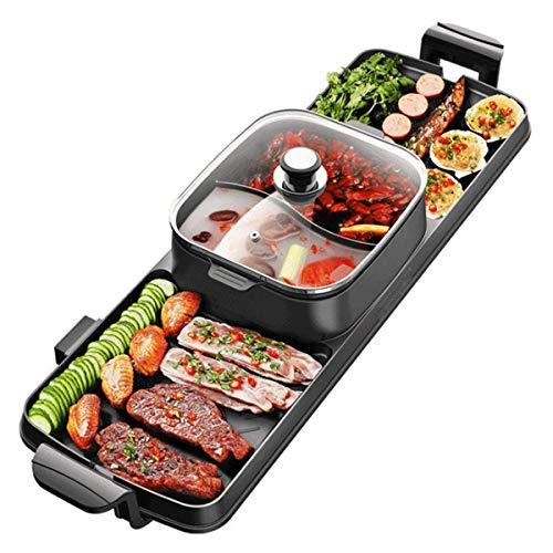 RENXR XL Teppanyaki Grill - Elektrogrill Thermostats Grill, Obere Gitter, 2 in 1-Topf Und Feuerstellen (6-8)