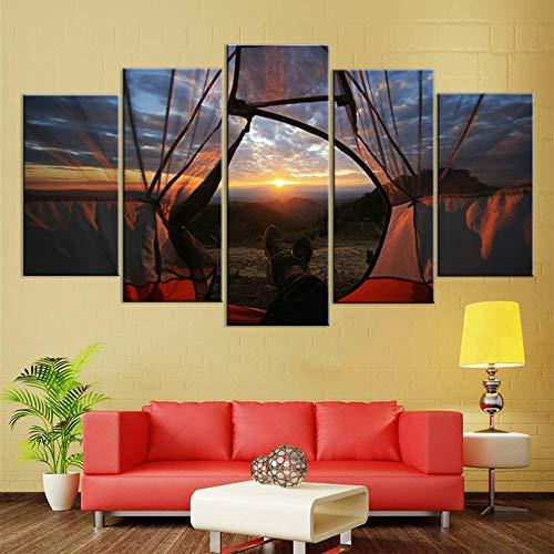 Mxsnow 5 Leinwanddrucke Rahmen Wandbilder Wohnkultur Bilder Landschaftsmalerei Druck Blick auf die Welt im Zelt Drucke auf Leinwand