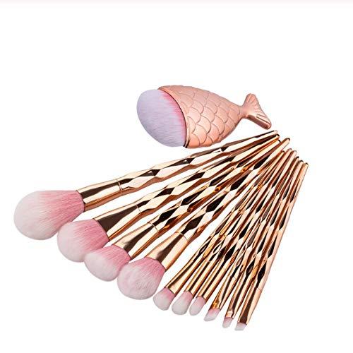 Terilizi 11 Pc Haute Qualité Diamant Sirène Maquillage Brosse Ensemble Big Fish Tail Foundation Pinceaux En Poudre