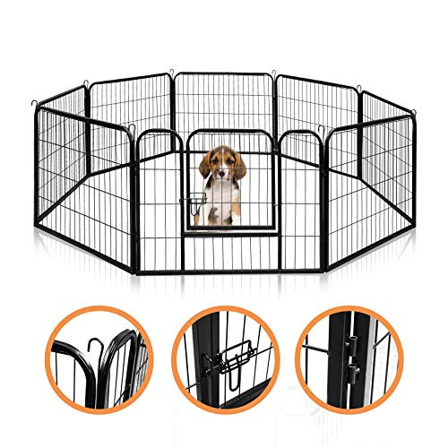 wolketon Freigehege Welpenlaufstall Freilaufgehege Welpenauslauf Hundelaufstall,mit Tür und rutschfeste Gummiauflage,8 stück