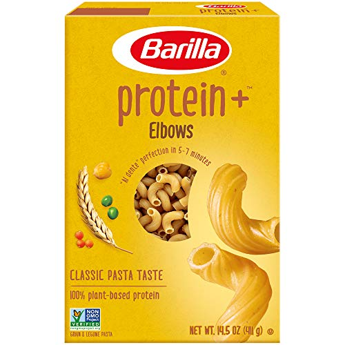 BARILLA Protein+ (Plus) Elbows Pasta - Protein from Lentils, Chickpeas & Peas - Good Source of Plant-Based Protein - Protein Pasta - Non-GMO - Kosher Certified - 14.5 Ounce Box (7 Servings per Box)