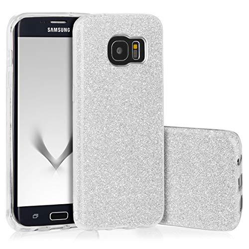 EGO ® Carcasa Brillante para Samsung G935 Galaxy S7 Edge, Plateado Funda Protección Case Brocado Silicona Elastica Diamante Luxus