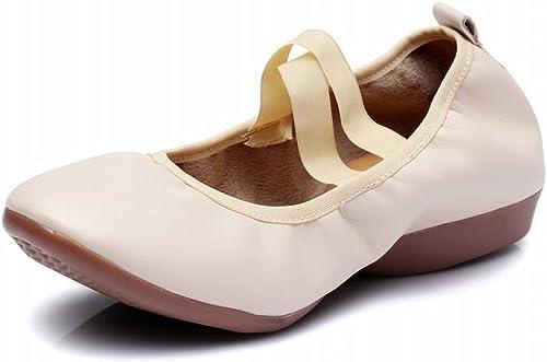 BYLE Sangle de Cheville Sandales en Cuir Chaussures de Danse Modern'Jazz Samba Chaussures de Danse Chaussures Plates avec en Toile Fond Mou Lié Chaussures Fermées