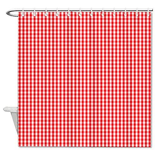 Duschvorhang aus Stoff, Schneeweiß & Weihnachtsrot, kariert, Duschvorhang für Badezimmer, wasserdicht, mit 12 Haken, maschinenwaschbar, 183 x 180 cm