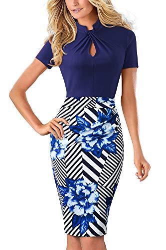 HOMEYEE Damen Vintage Stehkragen Kurzarm Bodycon Business Bleistift Kleid B430 (EU 40 = Size L, Streifen + Blumen)