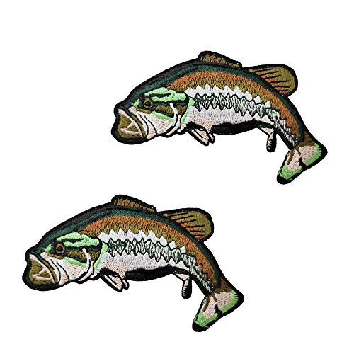 2pcs Set Bass Fish Embroidered Iron on Patches Fishing Badge