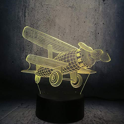 3D Illusion Lamp Propeller Airplane Model Night Light for Kids Boys Girls Led Table Desk Decor Lamp 3D Visual Light for Baby Bedroom Decoration Children Birthday Gifts Cartoon Toy with Remote