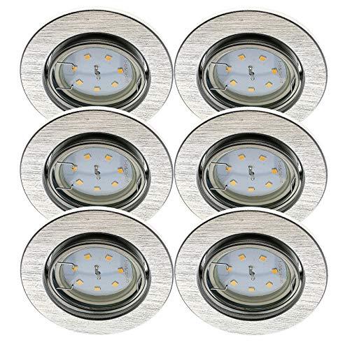 Trango 6er Set Einbaustrahler in Aluminium gebürstet Rund TG6729-069M3-12V incl. 6x 3W LED Modul 12Volt AC/DC nur 3cm Einbautiefe zum Ersetzen 12Volt MR16 & G4 Halogen Leuchtmittel
