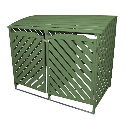 Double Sage Green Wheelie Bin Storage Shed Dustbin Store Garden Latched Lockable Outdoor Cover Unit Chain Lid
