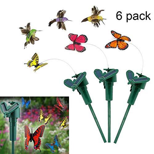 6 Stück Solar/batteriebetrieben, flatternder Schmetterling und flatternder Kolibri-Vogel für Garten Hof, Pflanzen, Blumen, Terrasse, Landschaft, Dekoration, Farbe zufällig