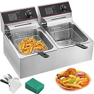 VEVOR Friteuse 12L Electrique INOX, Friteuse Commerciale en Acier Inoxydable, à Double Réservoir 5000W Friteuse avec 2Paniers à Friture avec Poignée en Caoutchouc pour Frire des Aliments Cuisiner