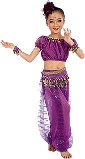 Girls Genie Costume India Belly Dance Arabian Princess Dress Halloween Costume with Waist Chain 6PCS Outfits Set