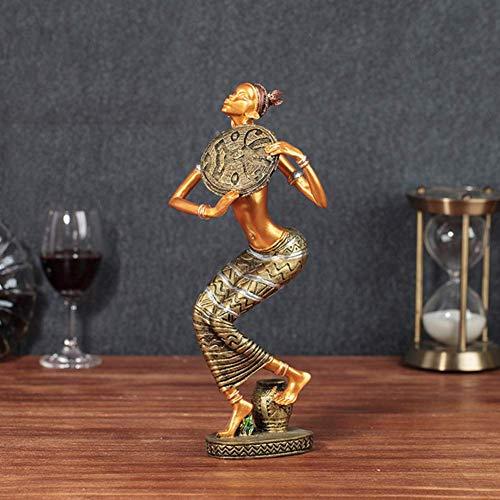 YANGDONG-Dekorativa ornament- Afrikansk konstskulptur, traditionell afrikansk dansande dam figurer, tribal dam staty för afrikansk kultur älskare heminredning -RDZDZSBJ-8