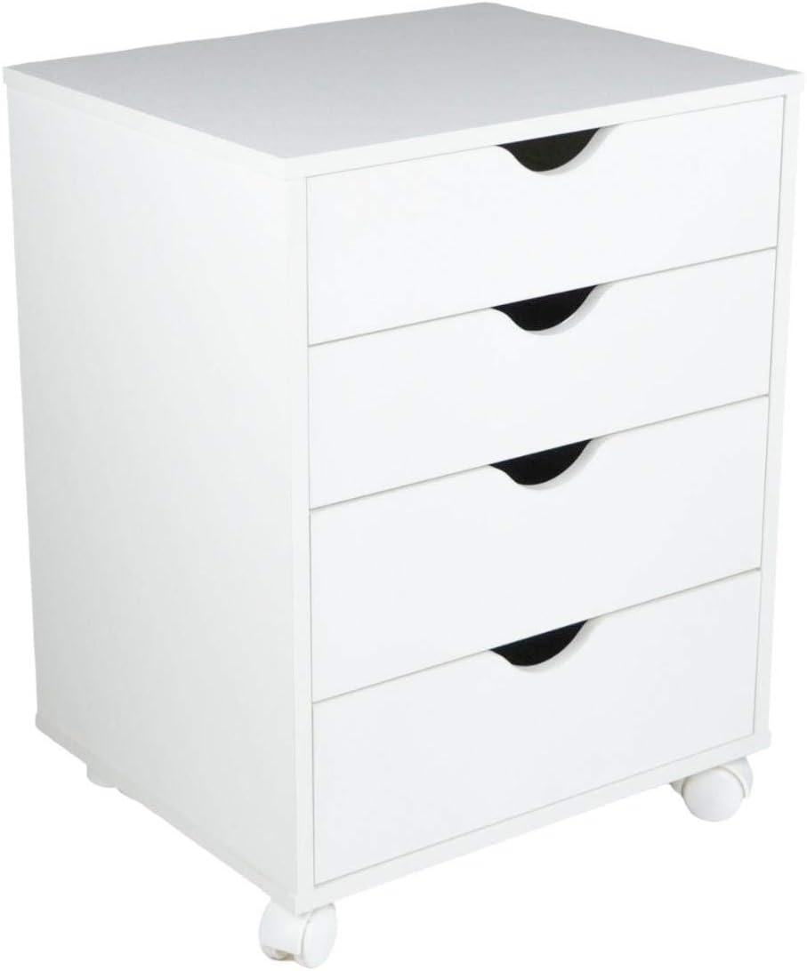 Falkk Modern 4-Drawer 限定タイムセール End Table White with マート Nightstand Premium –