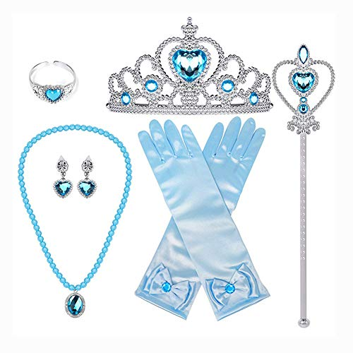 BJ-SHOP Set di Accessori per Costumi da Festa per Ragazze Corona da Principessa, Bacchette magiche, Anelli, Collana, Guanti, Orecchini