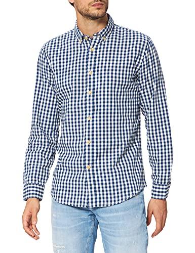 Springfield Camisa Cuadros Reciclado, Azul Medio, XL para Hombre