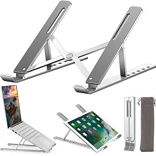 Soporte para ordenador portátil de alta resistencia de aluminio antideslizante soporte para ordenador portátil, ergonómico 6 niveles ajustable con ventilación para MacBook Pro Air, iPad, Dell, Lenovo