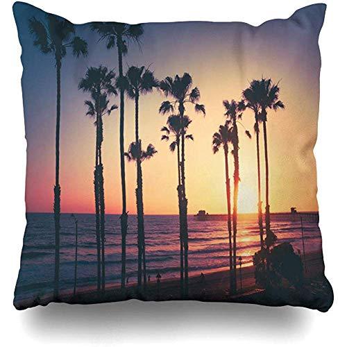 Moily Fayshow Throw Pillow Cover Square Case 40X40 Cm Ocean Coast California Beach Sunset Parks Pacific Palm Trees Pier Design