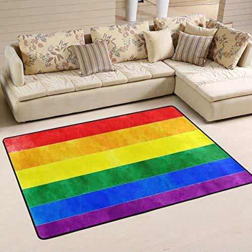 Wamika Rainbow Flag Doormat Gay Pride Lesbian LGBT Indoor Outdoor Rug for Kitchen Living Room Bedroom Outside Patio Inside Entry Way, 3' x 2'