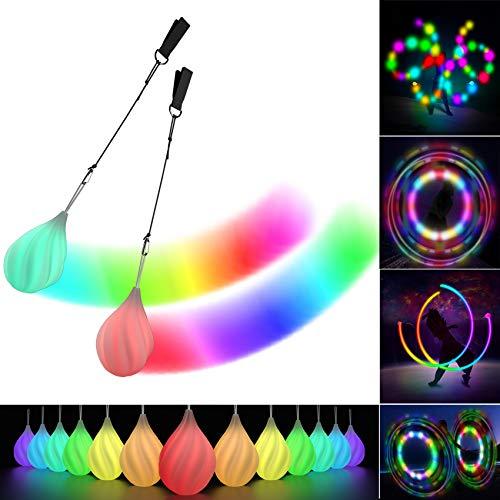 Papi Dada LED Poi Bälle - 2021 Verbessertes Soft Spinning Poi Spielzeug Set für Anfänger und Profis, Regenbogen Farben und Strobe-Effekt, 1x Paar Glühende Poi Bälle
