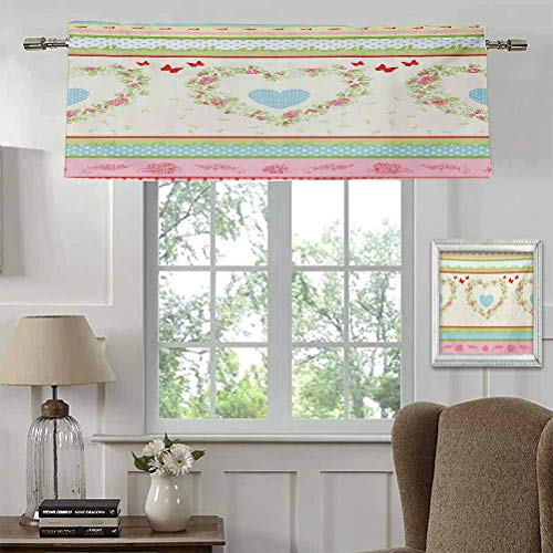 """Curtains with Valance Shabby Chic Tiers Curtains Privacy Drapes Country Style Roses and Borders Butterflies Ants Heart Shapes and Polka Dots Privacy Protect for Bathroom Rod Pocket Panel 56""""W x 16""""L"""