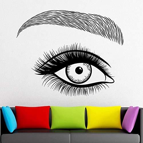 HNXDP Wimpern Aufkleber Wimpern Vinyl Cut Wandaufkleber Beauty Salon Frau Gesicht Wimpern Augenbrauen Brauen Home Decor Wandbilder Modern57x46cm