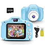 DINKY Kids Camera, Kids Digital Camera, 1080P HD Rechargeable Mini Digital Video Camera with 2.0 Inch Screen & 32GB SD Card, Camera Toy Gift for Boys Girls Age 3-9, Blue…